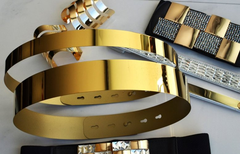 mirror belt full metal 4.0 - Size: M/L, Color: gold-038