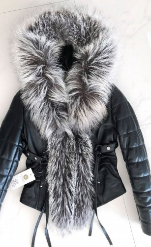 leather jacket natural fox fur hood - Size: L, Color: black-002